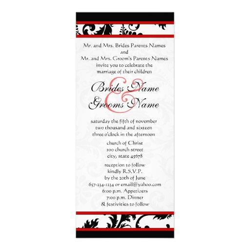Röd svart damast för vit 9x4 virvlar runt bröllopi unika inbjudningar