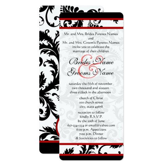 Röd svart damastast unik bröllopinbjudan för vit 10,2 x 23,5 cm inbjudningskort