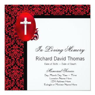 Röd svart damastkor, i att älska fyrkantigt 13,3 cm inbjudningskort