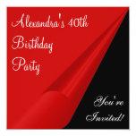 Röd svart- & för vit 40th födelsedagsfest individuella inbjudningskort