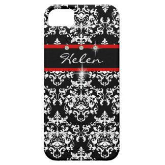 Röd svart för vit damast flickaktigt iPhone 5 skydd