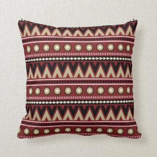 Röd svart guld- Aztec modern stilfull dekorativ Kudde