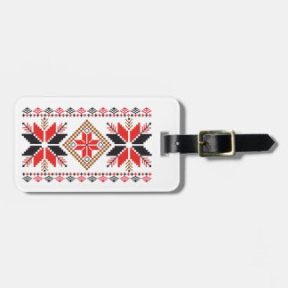 Röd & svart märkre för snöflingormönsterbagage bagagebricka