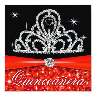 Röd svart Quinceanera Princess Tiara Bling Fyrkantigt 13,3 Cm Inbjudningskort