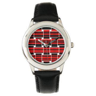 Röd svart schackbrädetrendig Sacramento Armbandsur