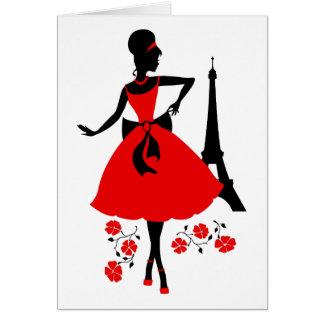 Röd svart silhouette för Retro kvinna med det Hälsningskort