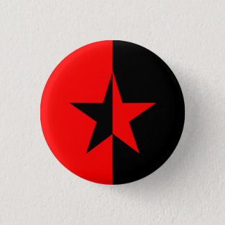 Röd/svart stjärna mini knapp rund 3.2 cm