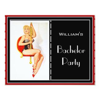 Röd svart vit för ungkarlpartyinbjudan 10,8 x 14 cm inbjudningskort