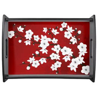 Röd svartvit körsbärsröd blommar serveringsbricka