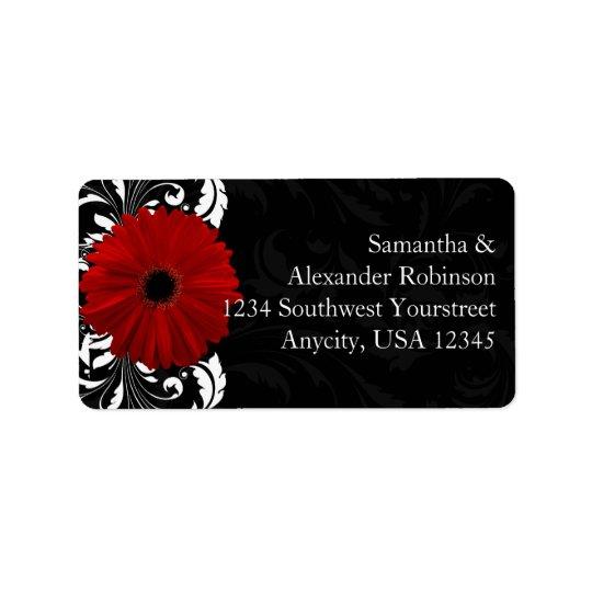 Röd svartvit rullaGerberadaisy Adressetikett