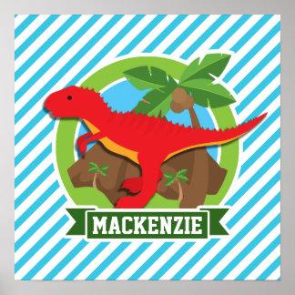 Röd T-Rex Dinosaur; Blått- & vitrandar Posters