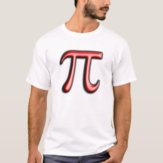 Röd T-tröja för dag för Pi-symbolPi Tee