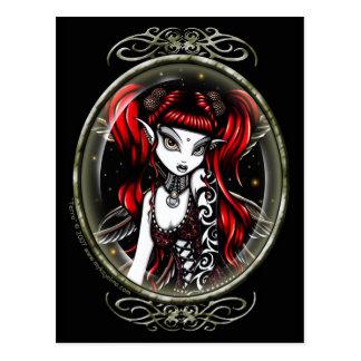Röd tatuerad felik vykort för TerraCameo