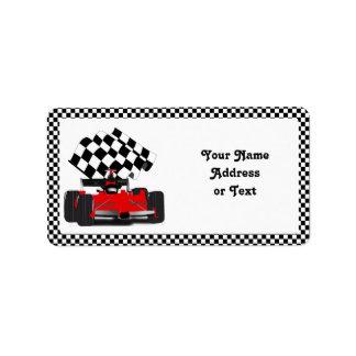 Röd tävlingbil med rutig flagga adressetikett