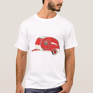 Röd Teardrop som campar släpman skjortan för Tshirts
