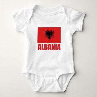 Röd text för Albanien flagga T-shirt