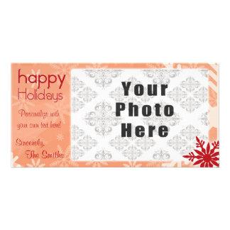 Röd Themed Snowflake för glad helg Fotokort