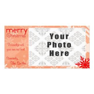 Röd Themed Snowflake för god jul Fotokort