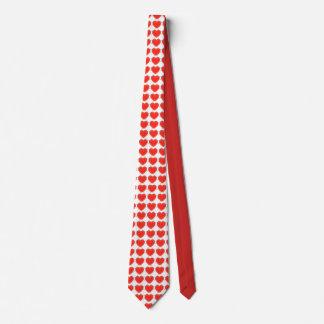 Röd Tie - och vithjärtor Slips