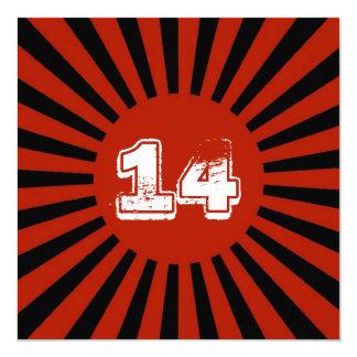 Röd tonåring vitsvarten pojke fyrkantigt 13,3 cm inbjudningskort