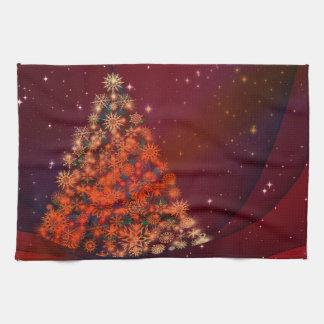 Röd trädhelgdagar för jul kökshandduk