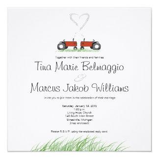 Röd traktorbröllopinbjudan fyrkantigt 13,3 cm inbjudningskort