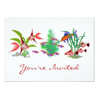Röd tropisk fisk i växter 12,7 x 17,8 cm inbjudningskort