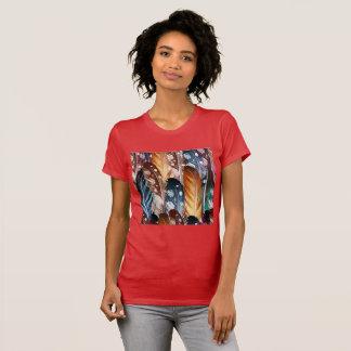 Röd tshirt för flickor med fjädrar tröjor