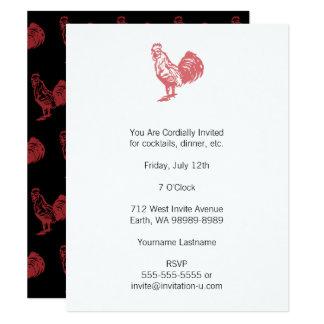 Röd tupp för boktryckstil 10,8 x 14 cm inbjudningskort