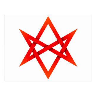 Röd Unicursal Hexagram 3D Vykort