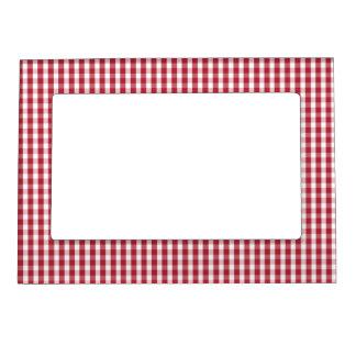 Röd USA flagga och kontrollerad vitGingham Magnetisk Fotoram