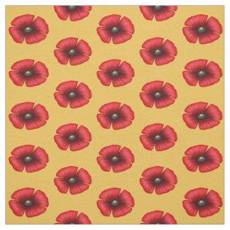 Röd vallmo för singel på gult tyg