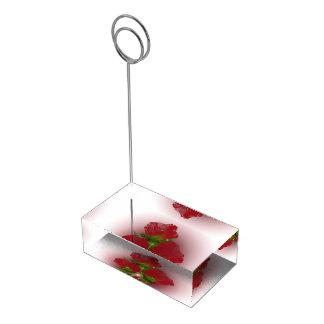 Röd vallmobukett bordskorthållare