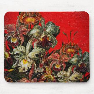 Röd vintageblommaolja borstar målning musmatta