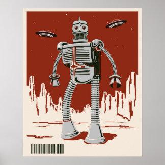 Röd vintagerobot 3 poster
