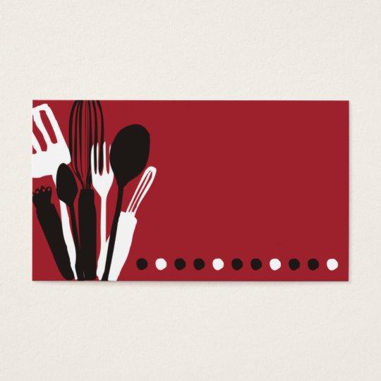 röd visitkort för catering för kökutensilskock
