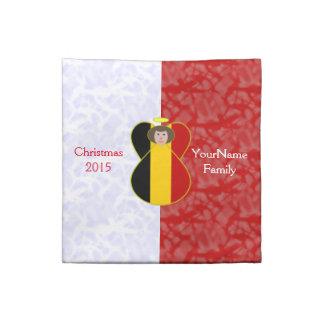 Röd vit för belgiskt hår för ängelflaggabrunt tygservett
