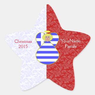 Röd vit för blond grekisk flaggaängel stjärnformat klistermärke