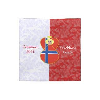 Röd vit för norskt hår för flaggaängel blont tygservett