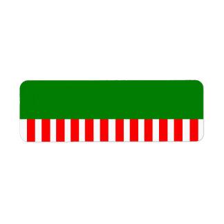 Röd vit görar randig gåvaetiketten returadress etikett