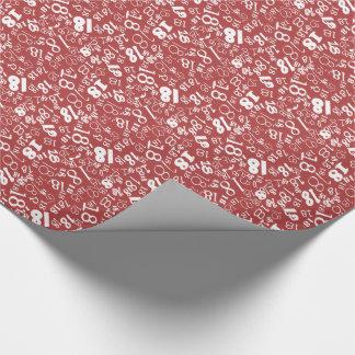 Röd vit numrerar den 18th födelsedagen som slår in presentpapper
