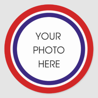 Röd vit- och blåttfotoram runt klistermärke