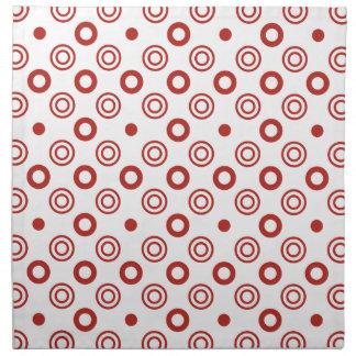 Röd vitabstrakt cirklar och pricker tygservett