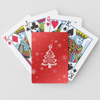 Röd vitjulgran med snöflingor spelkort