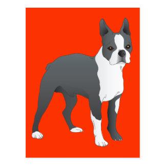 Röd vykort för hund för Boston Terriervalp