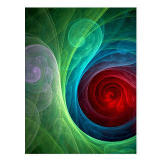 Röd vykort för stormabstraktkonst