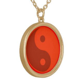 Röd Yin Yang andlig symbolYoga Guldpläterat Halsband