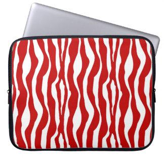 Röd zebra ränder - djupt - och vit laptopskydd