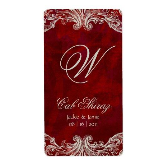 Röda antika ro för bröllopsdagvinetikett fraktsedel