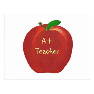 Röda Apple som målar, A+ Lärarevykort Vykort